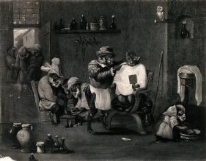 view Animals posing as human beings in an interior of a barber-surgeon's shop. Mezzotint.
