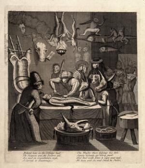 view An anatomy lesson in an apothecary shop; represented by anthropomorphic participants. Engraving after Egbert von Heemskerck, ca. 1730-79
