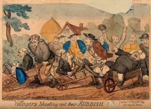 view Country folk pushing a lawyer, a physician and a gouty vicar in wheelbarrows out of their village. Coloured etching by G. Cruikshank, 1819.