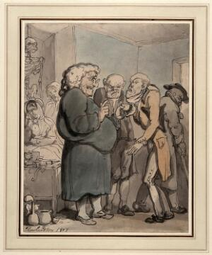 view Patients consulting an obese quack. Watercolour painting by T. Rowlandson, 1807.