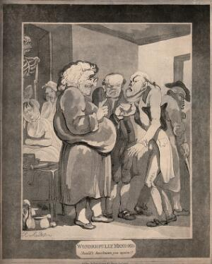 view Patients consulting an obese quack. Aquatint by T. Rowlandson, 1807.