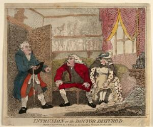 view A man interrupting a doctor's misconduct with a young female patient. Coloured etching by T. Rowlandson?, 1786.