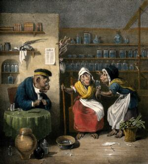 view Interior of a phlebotomist's shop with anthropomorphic participants. Coloured lithograph by J.D. Harding after E. Bristowe.