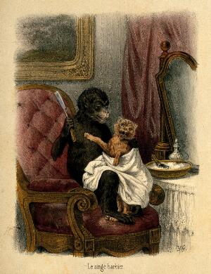 view A barber about to shave an unwilling client with anthropomorphic participants. Reproduction of a coloured lithograph by Y.G.