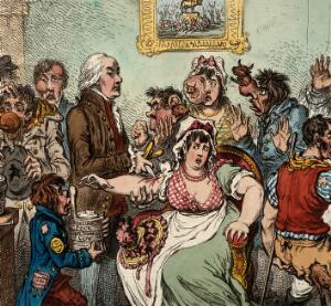 view Edward Jenner among patients in the Smallpox and Inoculation Hospital at St. Pancras. (Detail)