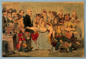 view Edward Jenner vaccinating patients in the Smallpox and Inoculation Hospital at St. Pancras: the patients develop features of cows. Watercolour after J. Gillray, 1802.