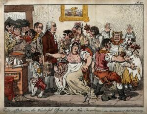 view Edward Jenner among patients in the Smallpox and InoculationColoured etching after J. Gillray, 1802.