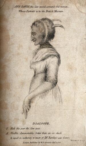 view Ann Davis, a woman with smallpox and horns growing out of her head. Stipple engraving by T. Woolnoth, 1806.