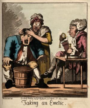 view A doctor waiting for his patient to vomit after administering an emetic. Coloured aquatint by G.M. Woodward, 1800.