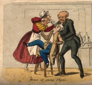 view A doctor restraining a young man while a lady funnel-feeds his medicine. Coloured etching, c. 1840.