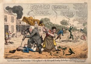 view A veterinary surgeon and a blacksmith attacking dandies on bicycles; representing the anti-bicycle movement. Coloured etching by C. Williams, 1819.