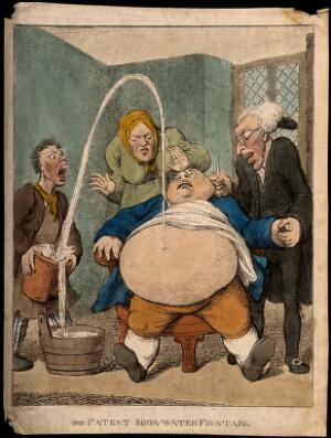 view A doctor performing a paracentesis on an obese man, whose abdomen is tapped ejecting a fountain into a bucket. Coloured etching by Ull.