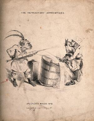view A monkey squirting water through a large syringe at two other monkeys. Lithograph.
