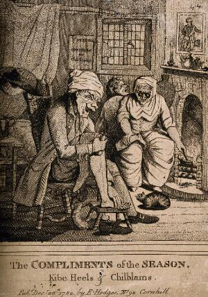 view A quack doctor treating her patient's chilblains. Engraving after H.B. Bunbury.
