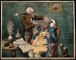 """view An operator treating the carbuncled nose of an obese patient with """"Perkins's tractors"""". Coloured aquatint after J. Gillray, 1801."""