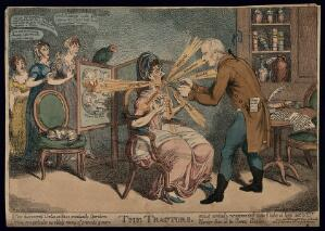 "view An operator treating Ann Ford, a society lady, with ""Perkins's tractors"", for her venomous tongue. Coloured etching by C. Williams, 1802."