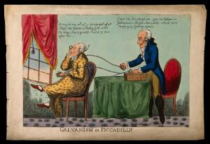 view An affluent man receiving galvanic electric therapy from a French quack doctor, while staring intently out of the window. Coloured etching.