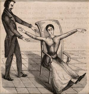 view A Mesmerist using Animal Magnetism on a female patient