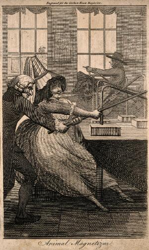 view A quack doctor assisting a voluptuous female patient with group magnetic therapy. Etching by J. Barlow, c. 1792, after J. Collings.