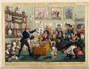 view George Combe lecturing on phrenology to a large mixed audience in his Edinburgh home?; presented with protuberances covering his head. Coloured lithograph by L. Bump, 1826, after J. Lump.