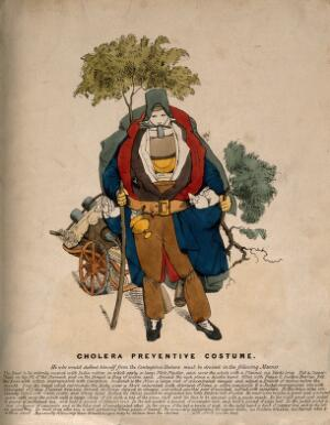view A figure dressed in a cholera safety suit. Coloured etching. English, after a German or French original of 1832.