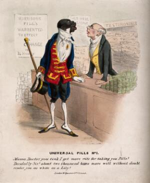 view A black man buying some of J. Morison's pills, hoping they will make him white. Coloured lithograph.