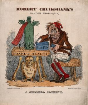 view A cholera patient experimenting with remedies. Coloured etching by R.I. Cruikshank, [1832?].