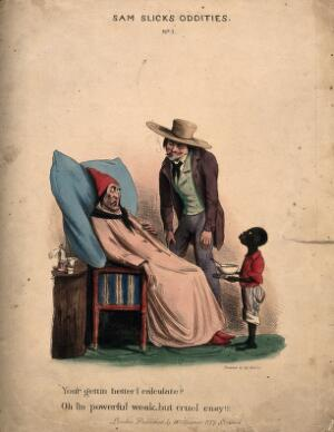 view An ill man being visited by a suspicious looking man. Coloured lithograph.