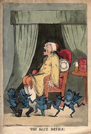 view A man suffering from attack by blue devils; representing depression or mental illness. Coloured etching R. Newton, 1795, after himself.