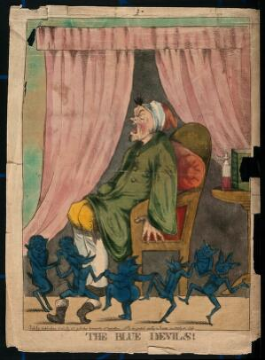 view A man suffering from attack by blue devils; representing depression or mental illness. Coloured etching after R. Newton, 1795.