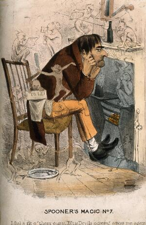 view A wretched man with an approaching depression; represented by encroaching little devils. Coloured lithograph, 183-.