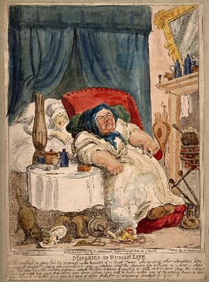 view A convalescing woman trying in vain to rouse her slumbering hired nurse: the cat scavenges her food and the candle sets light to the carpet. Coloured etching by N. Heideloff, 1807, after T. Rowlandson.