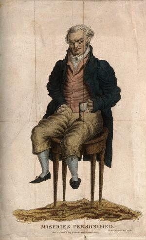 view An elderly wretched man with a deformed hand, sitting on a table accidentally pouring a drink over himself. Coloured stipple engraving by E. Scriven, 1807, after J. Beresford.