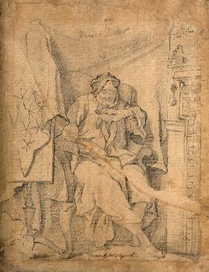 view An ill man seated by a fireplace vomiting into a bowl. Pencil drawing.