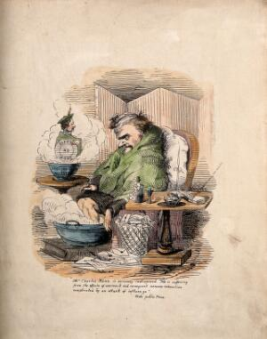 view Charles Kean, ill with flu. Coloured etching.