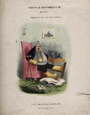 view A disgruntled gouty man with all limbs bandaged, a table covered in medicine bottles is next to him. Coloured lithograph by H. Heath.