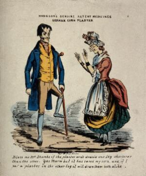 view A man wearing a 'german corn plaster', which has caused his leg to shrink. Coloured reproduction of an etching.