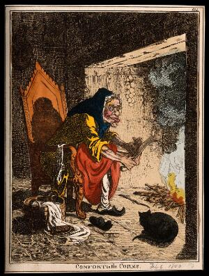 view A haggard old woman taking a large file to the corns on her feet. Coloured etching by J. Gillray, 1800, after himself.