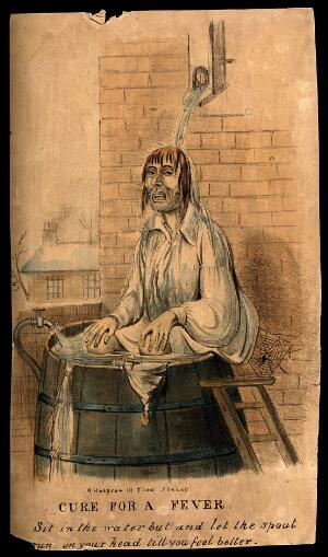 view A man self-administering hydrotherapy, sitting outside in a barrel. Coloured lithograph.