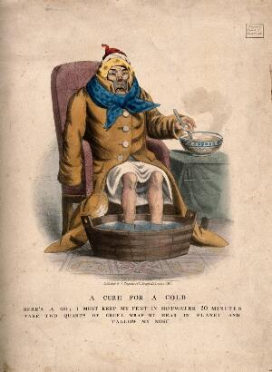 view A sick man with a cold. Coloured lithograph, 1833.