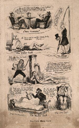 view Six vignettes of self-help hydrotherapy. Etching by G. Cruikshank.