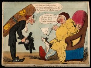 view An undertaker visiting a sick man in the hope of gaining a new client. Coloured etching after R. Newton.