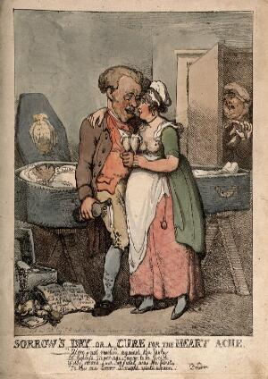 view A man cavorting with a young woman, while his recently deceased wife lies in a coffin in the background. Coloured etching by T. Rowlandson, 1802.