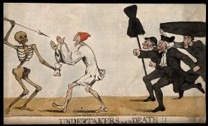 view A man with closed eyes walking into a skeletal death figure, a group of anxious undertakers run after them. Coloured etching by R. Newton, 1794, after himself.