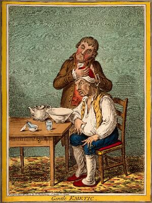 view A grimacing invalid seated before a bowl having received an emetic, another man clasps his head compassionately. Coloured etching by J. Sneyd, 1804, after J. Gillray.