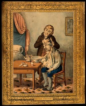 view A grimacing invalid seated before a bowl having received an emetic, another man clasps his head compassionately. Coloured etching after J. Sneyd after J. Gillray.