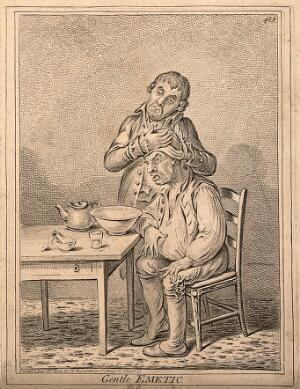 view A grimacing invalid seated before a bowl having received an emetic, another man clasps his head compassionately. Etching by J. Gillray, 1804, after J. Sneyd.