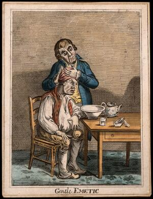 view A grimacing invalid seated before a bowl having received an emetic, another man clasps his head compassionately. Coloured etching after J. Gillray after J. Sneyd.