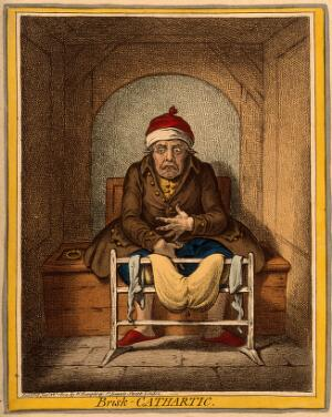 view A sick man stranded on the toilet after taking a laxative. Coloured etching by J. Gillray, 1804, after J. Sneyd.