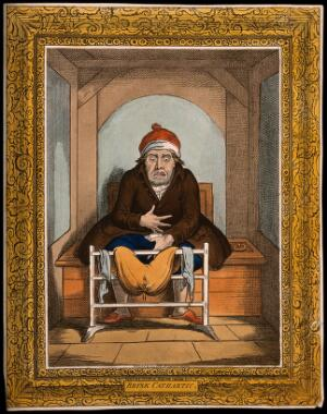 view A sick man stranded on the toilet after taking a laxative. Coloured etching after J. Gillray after J. Sneyd.